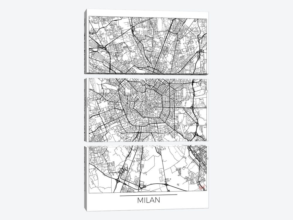 Milan Minimal Urban Blueprint Map by Hubert Roguski 3-piece Canvas Print