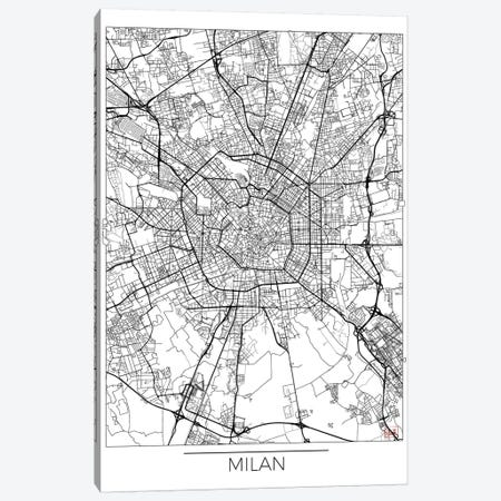 Milan Minimal Urban Blueprint Map 3-Piece Canvas #HUR226} by Hubert Roguski Canvas Print