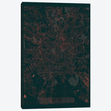 Milan Infrared Urban Blueprint Map Canvas Print #HUR227} by Hubert Roguski Canvas Art Print