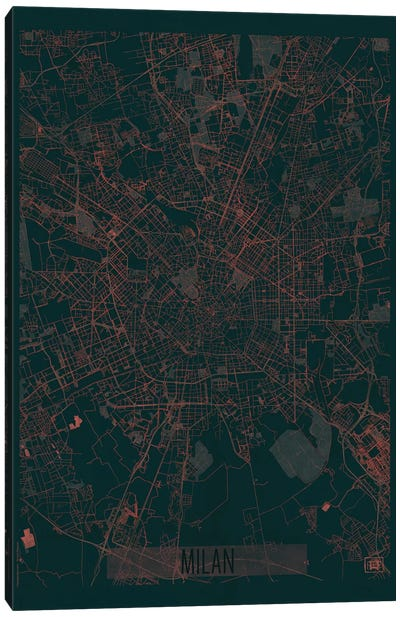 Milan Infrared Urban Blueprint Map Canvas Art Print