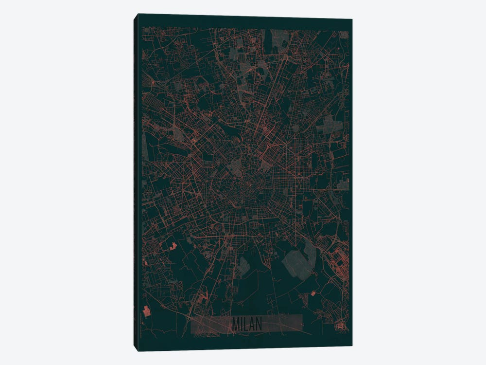Milan Infrared Urban Blueprint Map by Hubert Roguski 1-piece Canvas Art
