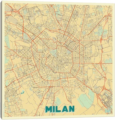 Milan Retro Urban Blueprint Map Canvas Art Print