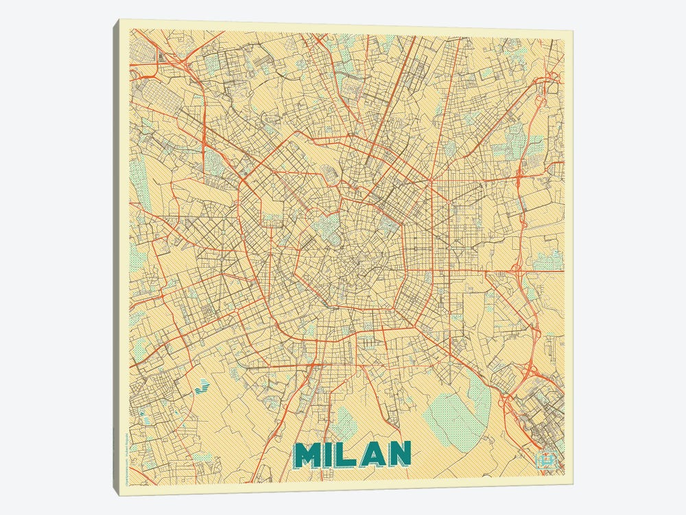 Milan Retro Urban Blueprint Map by Hubert Roguski 1-piece Art Print