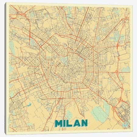 Milan Retro Urban Blueprint Map 3-Piece Canvas #HUR228} by Hubert Roguski Canvas Art