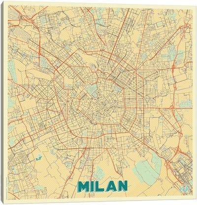Milan Retro Urban Blueprint Map Canvas Art Print