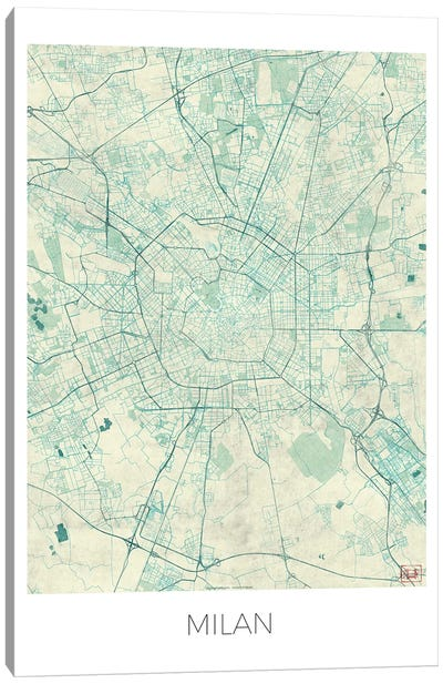 Milan Vintage Blue Watercolor Urban Blueprint Map Canvas Art Print