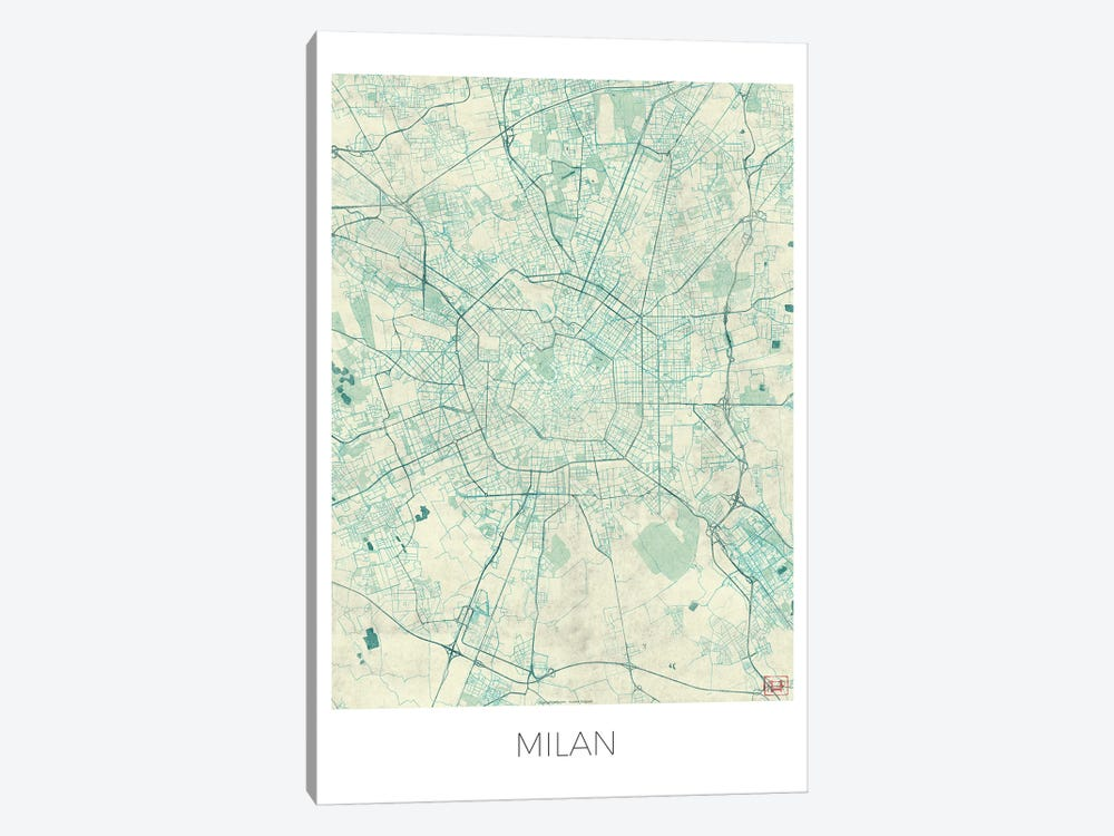 Milan Vintage Blue Watercolor Urban Blueprint Map by Hubert Roguski 1-piece Canvas Artwork