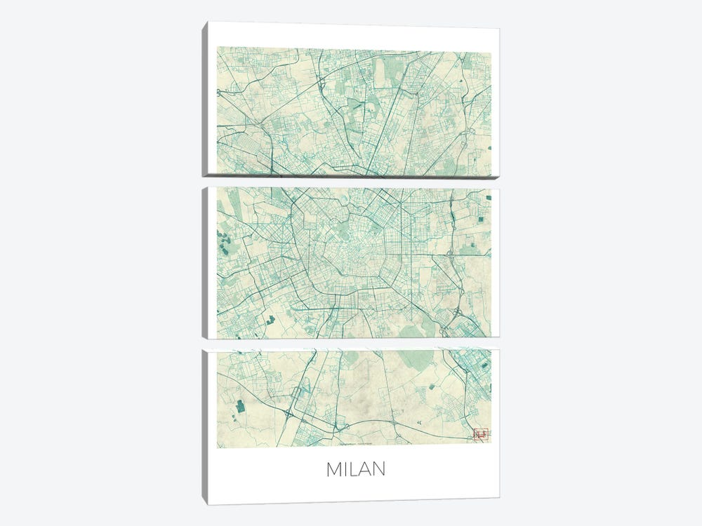 Milan Vintage Blue Watercolor Urban Blueprint Map by Hubert Roguski 3-piece Canvas Wall Art