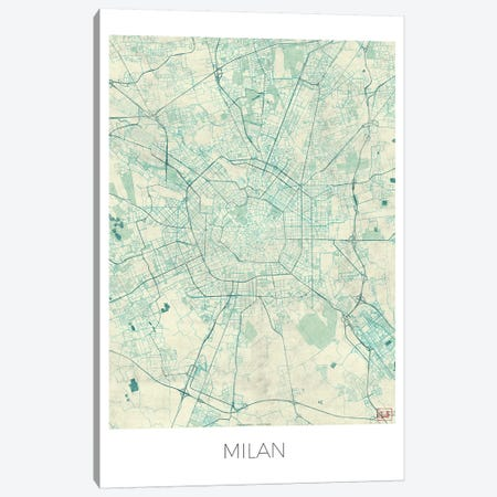 Milan Vintage Blue Watercolor Urban Blueprint Map Canvas Print #HUR229} by Hubert Roguski Canvas Art