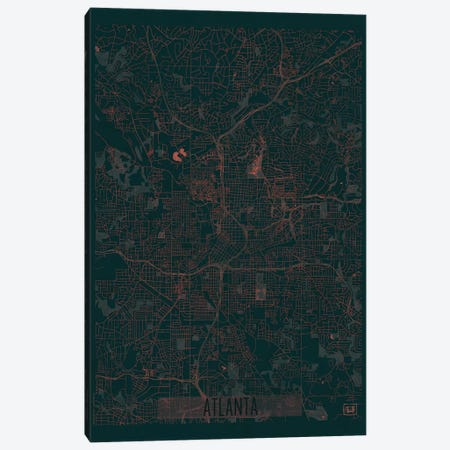 Atlanta Infrared Urban Blueprint Map Canvas Print #HUR22} by Hubert Roguski Canvas Print