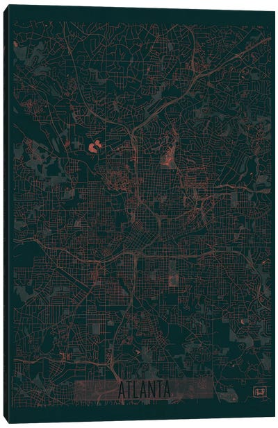 Atlanta Infrared Urban Blueprint Map Canvas Art Print