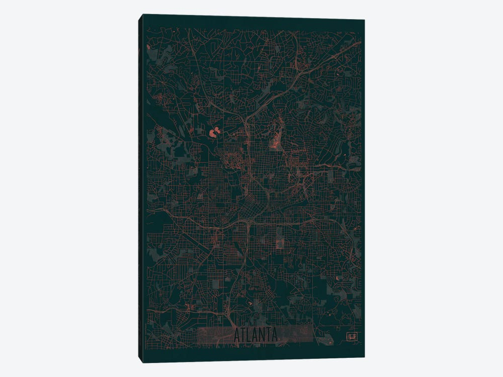 Atlanta Infrared Urban Blueprint Map by Hubert Roguski 1-piece Canvas Art
