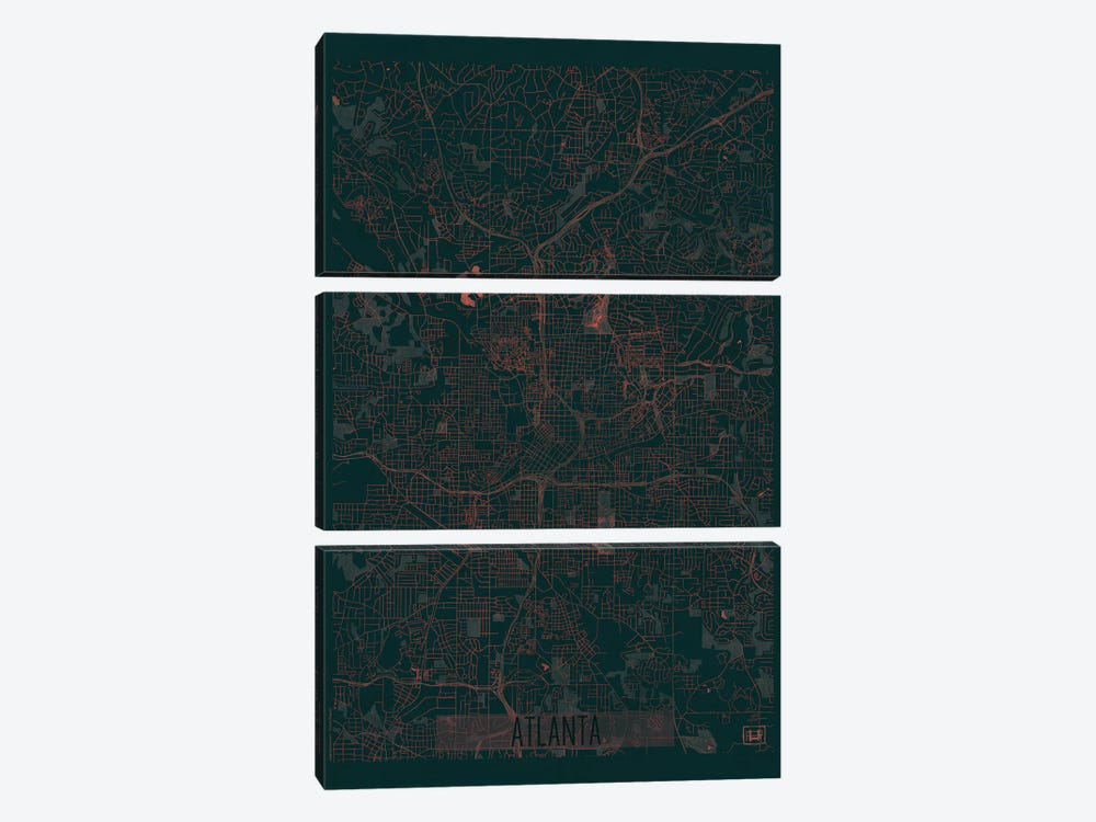 Atlanta Infrared Urban Blueprint Map by Hubert Roguski 3-piece Canvas Artwork