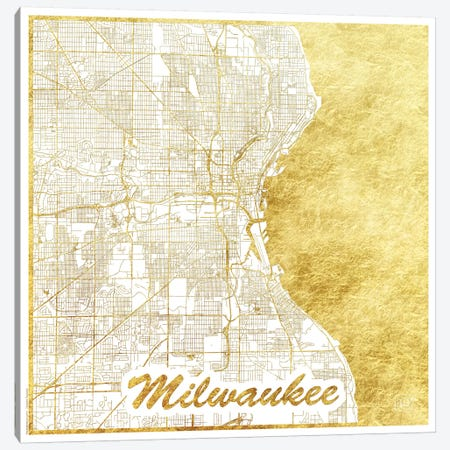 Milwaukee Gold Leaf Urban Blueprint Map Canvas Print #HUR230} by Hubert Roguski Canvas Art Print