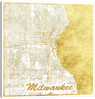 Milwaukee Gold Leaf Urban Blueprint Map Canvas Art Print