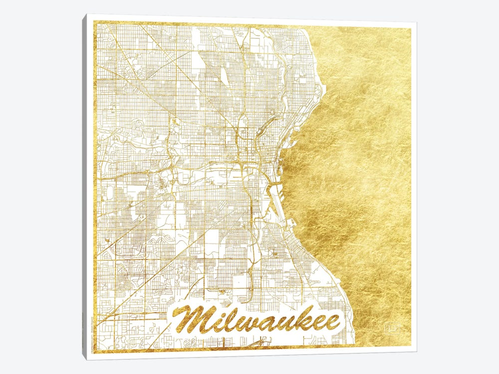 Milwaukee Gold Leaf Urban Blueprint Map by Hubert Roguski 1-piece Canvas Artwork