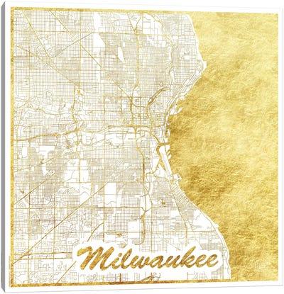 Milwaukee Gold Leaf Urban Blueprint Map Canvas Art Print