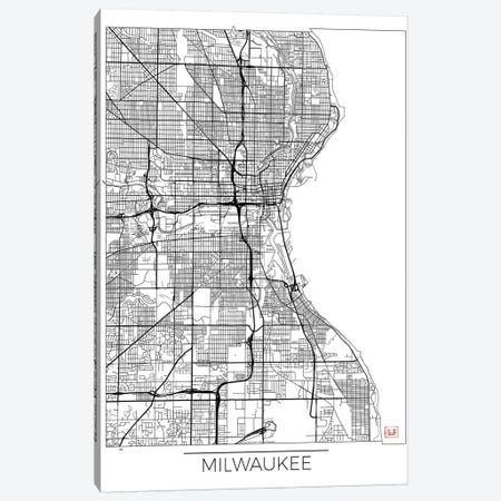 Milwaukee Minimal Urban Blueprint Map Canvas Print #HUR231} by Hubert Roguski Canvas Art Print