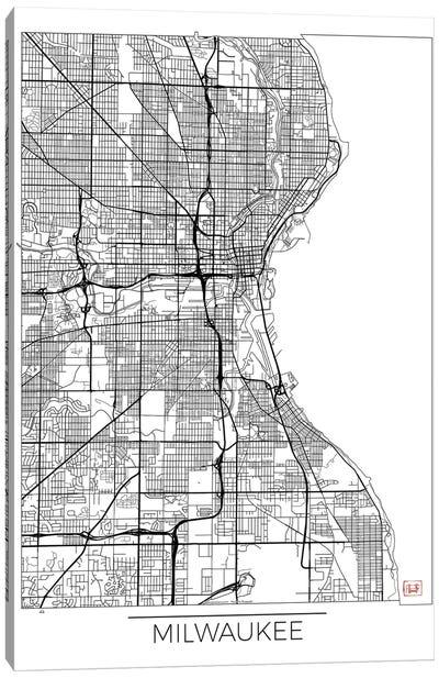 Milwaukee Minimal Urban Blueprint Map Canvas Art Print