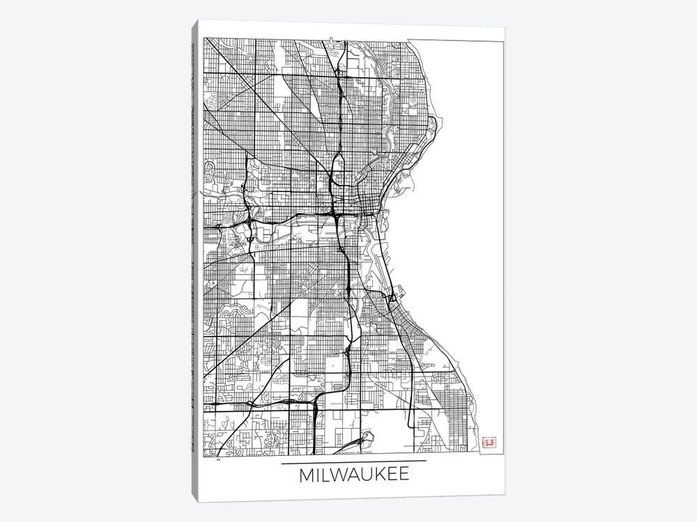 Milwaukee Minimal Urban Blueprint Map by Hubert Roguski 1-piece Canvas Art Print