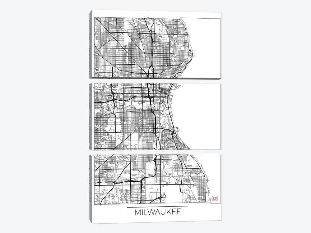 Milwaukee Minimal Urban Blueprint Map by Hubert Roguski 3-piece Canvas Print