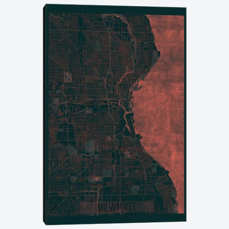 Milwaukee Infrared Urban Blueprint Map Canvas Print #HUR232} by Hubert Roguski Art Print