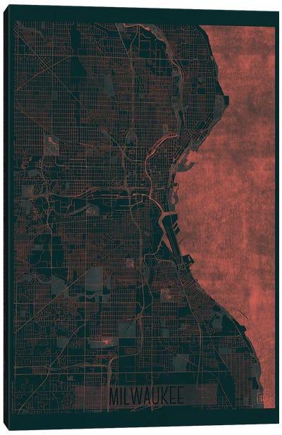 Milwaukee Infrared Urban Blueprint Map Canvas Art Print