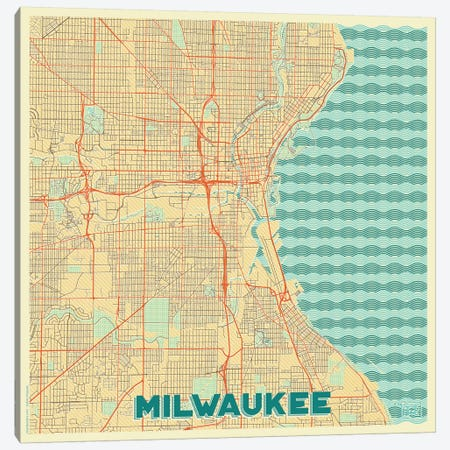 Milwaukee Retro Urban Blueprint Map Canvas Print #HUR233} by Hubert Roguski Canvas Art Print
