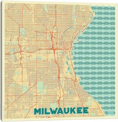 Milwaukee Retro Urban Blueprint Map Canvas Art Print