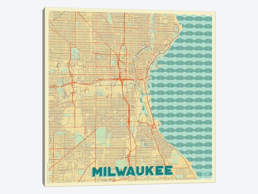 Milwaukee Retro Urban Blueprint Map by Hubert Roguski 1-piece Canvas Art Print