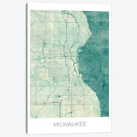 Milwaukee Vintage Blue Watercolor Urban Blueprint Map Canvas Print #HUR234} by Hubert Roguski Canvas Art