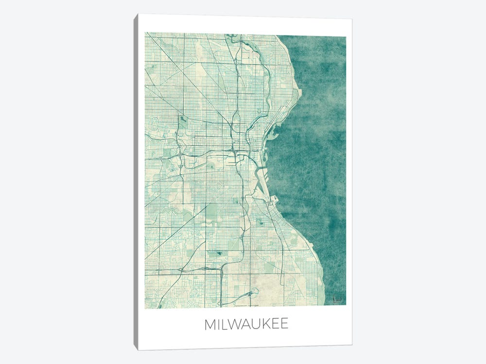 Milwaukee Vintage Blue Watercolor Urban Blueprint Map by Hubert Roguski 1-piece Canvas Artwork
