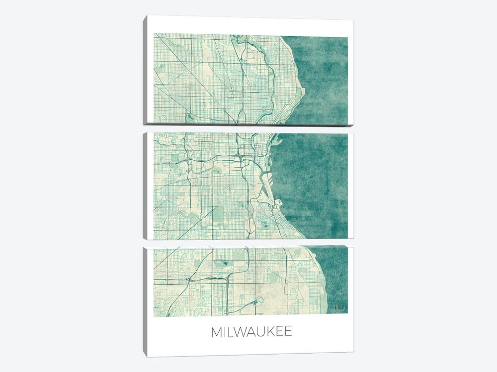 Milwaukee Vintage Blue Watercolor Urban Blueprint Map by Hubert Roguski 3-piece Canvas Art