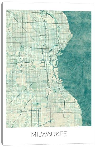 Milwaukee Vintage Blue Watercolor Urban Blueprint Map Canvas Art Print