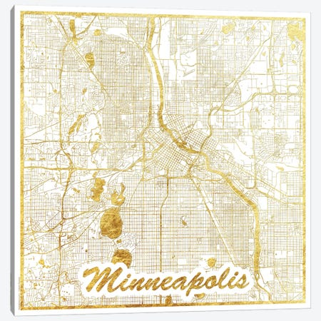 Minneapolis Gold Leaf Urban Blueprint Map Canvas Print #HUR235} by Hubert Roguski Canvas Art