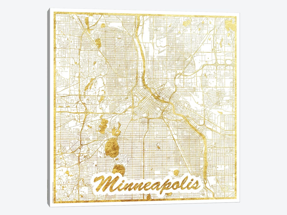 Minneapolis Gold Leaf Urban Blueprint Map by Hubert Roguski 1-piece Art Print