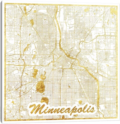 Minneapolis Gold Leaf Urban Blueprint Map Canvas Art Print