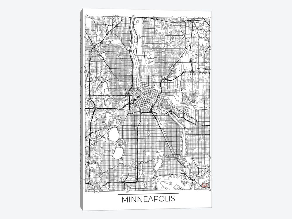 Minneapolis Minimal Urban Blueprint Map by Hubert Roguski 1-piece Canvas Artwork
