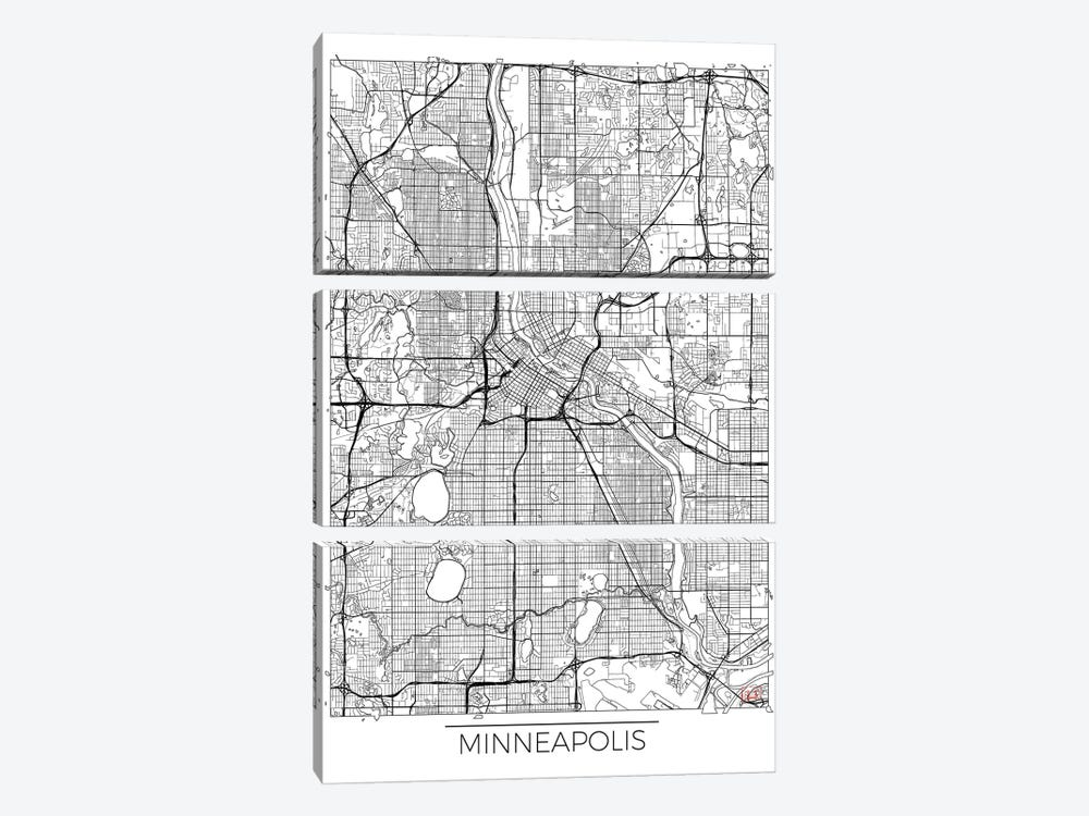 Minneapolis Minimal Urban Blueprint Map by Hubert Roguski 3-piece Canvas Wall Art