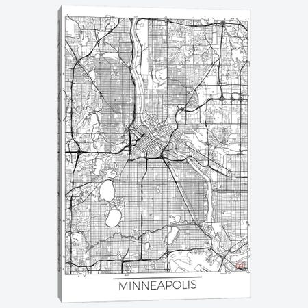 Minneapolis Minimal Urban Blueprint Map 3-Piece Canvas #HUR236} by Hubert Roguski Canvas Art