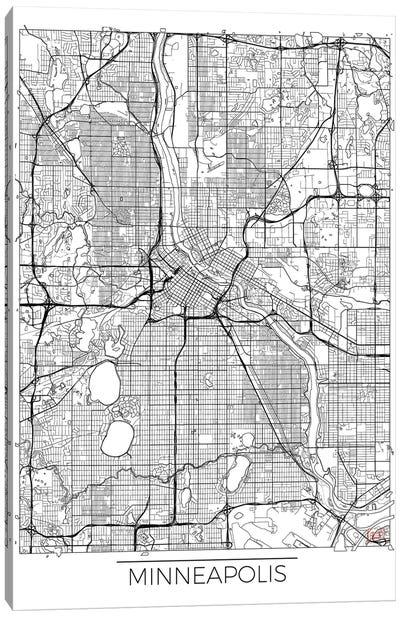 Minneapolis Minimal Urban Blueprint Map Canvas Art Print