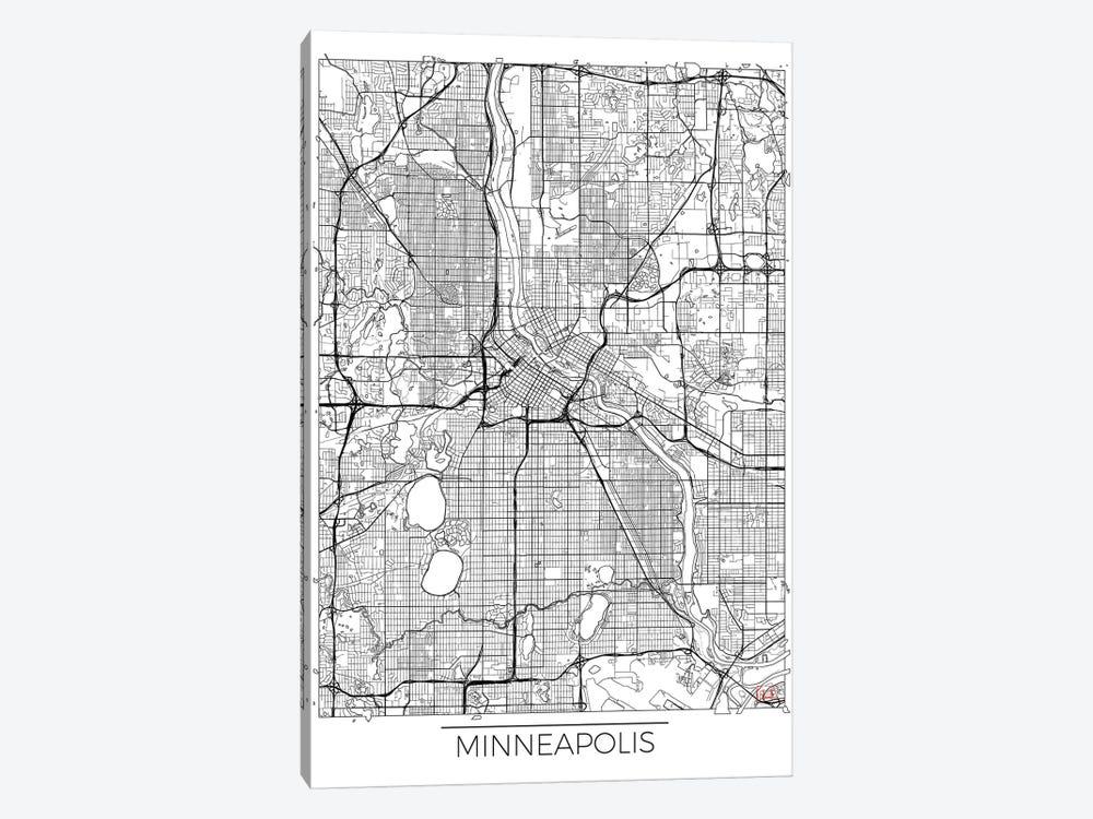 Minneapolis Minimal Urban Blueprint Map by Hubert Roguski 1-piece Canvas Artwork