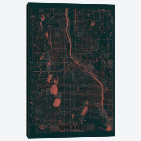 Minneapolis Infrared Urban Blueprint Map Canvas Print #HUR237} by Hubert Roguski Canvas Artwork