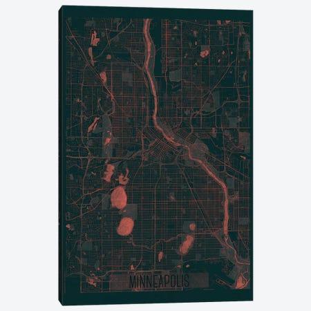 Minneapolis Infrared Urban Blueprint Map 3-Piece Canvas #HUR237} by Hubert Roguski Canvas Artwork
