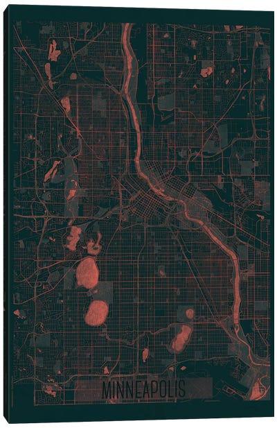 Minneapolis Infrared Urban Blueprint Map Canvas Art Print