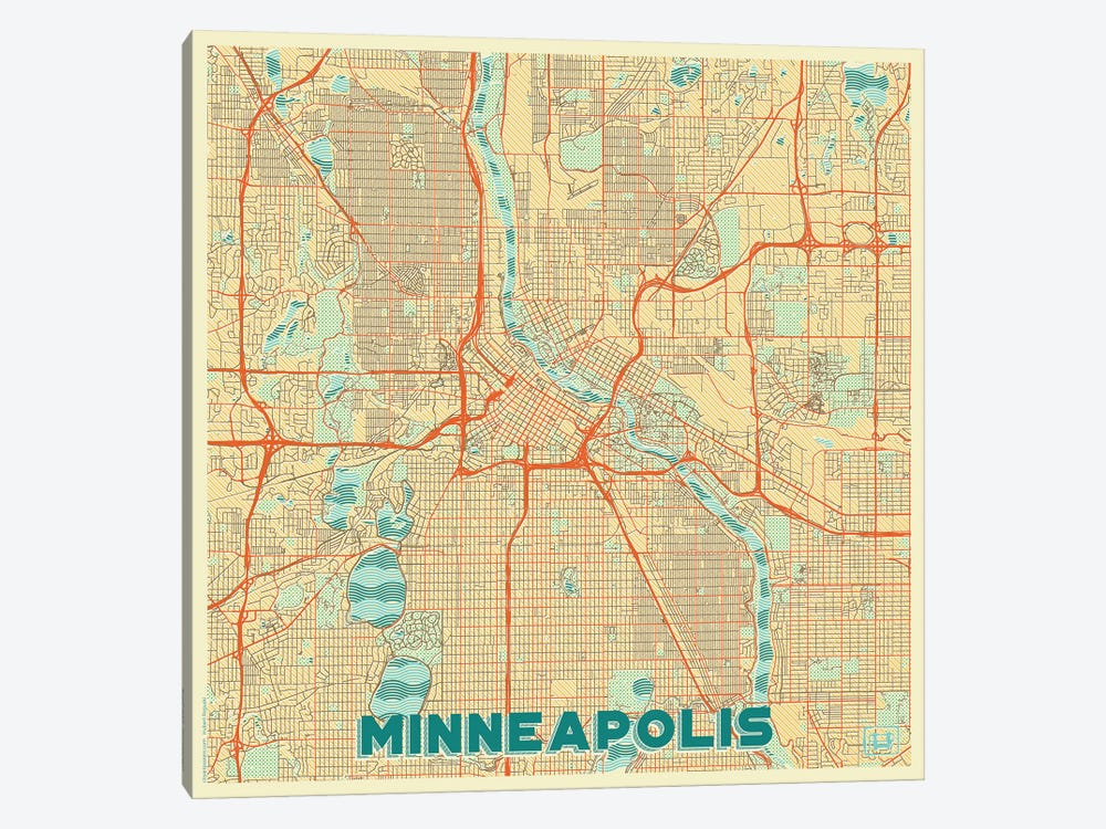 Minneapolis Retro Urban Blueprint Map by Hubert Roguski 1-piece Canvas Wall Art