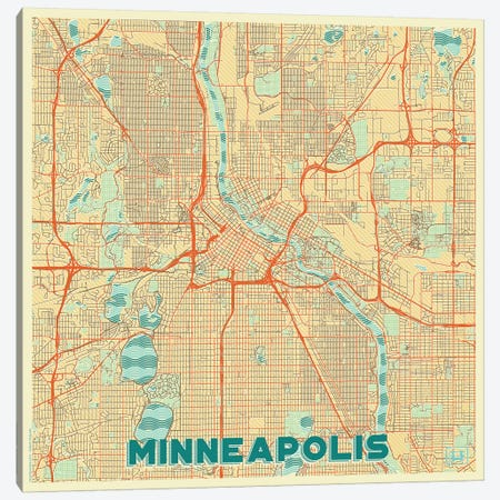 Minneapolis Retro Urban Blueprint Map Canvas Print #HUR238} by Hubert Roguski Canvas Print