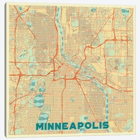 Minneapolis Retro Urban Blueprint Map Canvas Print #HUR238} by Hubert Roguski Canvas Print