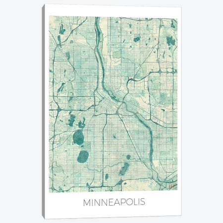 Minneapolis Vintage Blue Watercolor Urban Blueprint Map Canvas Print #HUR239} by Hubert Roguski Canvas Print