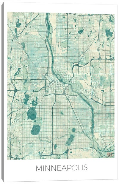 Minneapolis Vintage Blue Watercolor Urban Blueprint Map Canvas Art Print